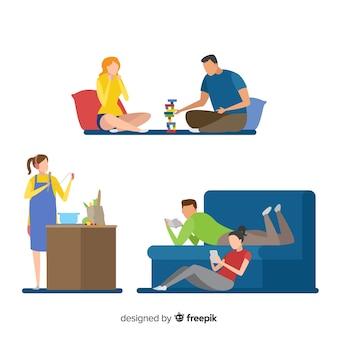 Par jovem, fazendo atividades, casa