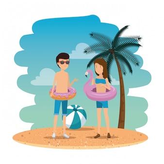 Par jovem, ligado, a, verão, praia