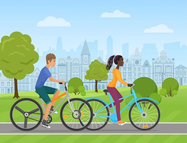 Par jovem, montando, um, desporto, bicicleta