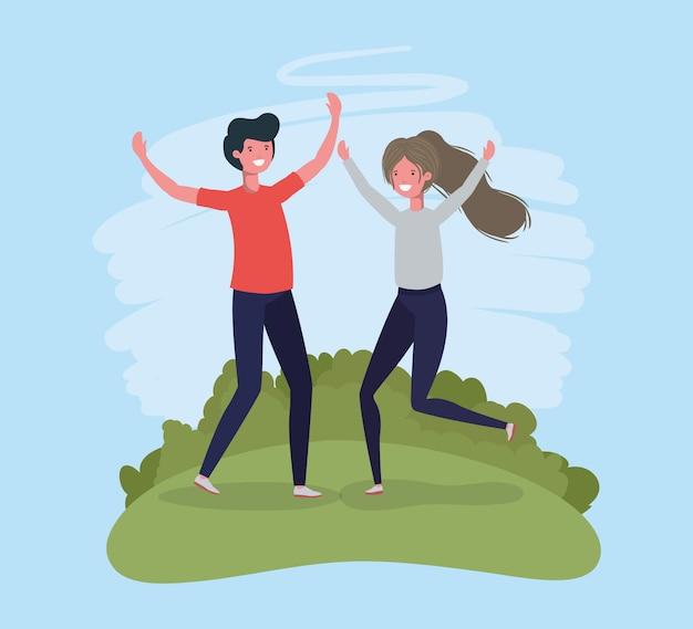 Par jovem, pular, celebrando, em, a, parque, caráteres