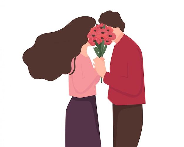 Par jovem, segurando, buquê flor