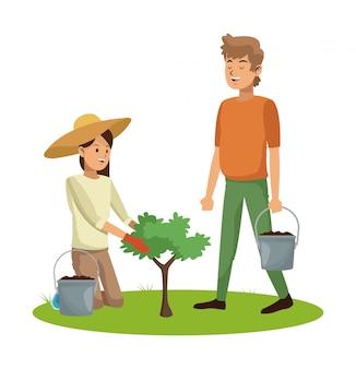 Par jovem, semeando, e, importar-se, plantas