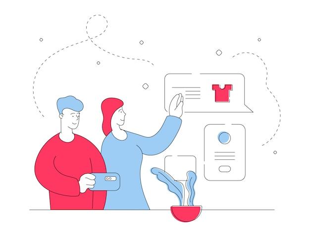 Par ler opiniões de mercadorias no smartphone. ilustração de linha