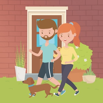 Par, menino, menina, cão, desenho