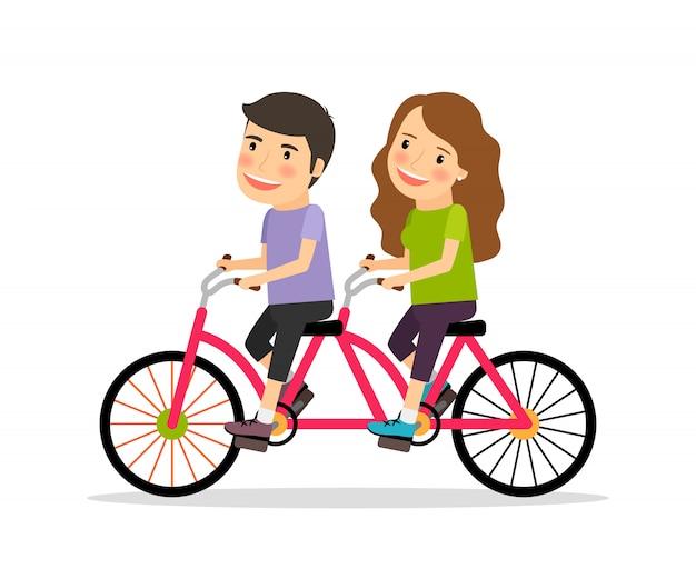 Par, montando, bicicleta tandem