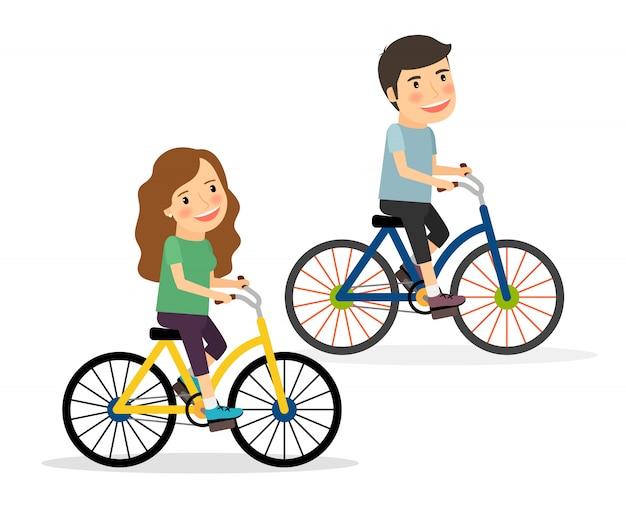 Par, montando, bicycles