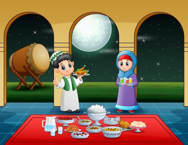 Par, muçulmano, preparar, iftar, alimento, em, a, ramadan, mês