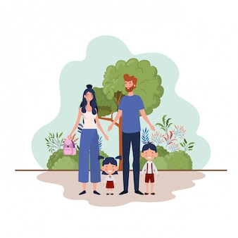 Par, pais, crianças, paisagem