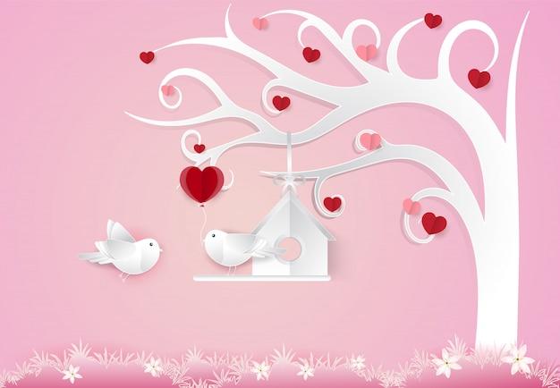 Par, pássaros, e, coração, árvore, valentine, conceito