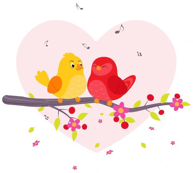 Par, pássaros, sentando, ligado, ramo