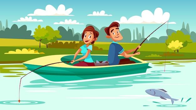 Par, pesca, ilustração, de, homem jovem, e, mulher, em, bote, com, varas, ligado, lago