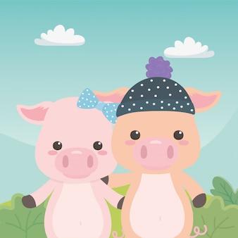Par, porcos, desenhos animados