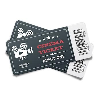 Par realista de bilhetes de cinema preto moderno isolado