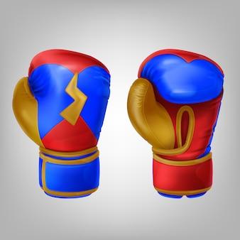 Par realista de luvas de boxe coloridas de couro