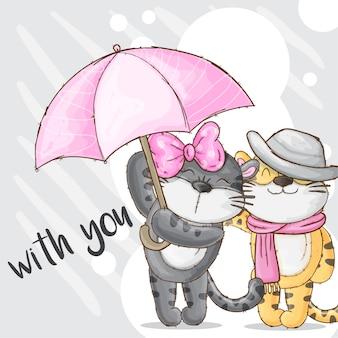 Par romântico, bebê tigre, mão, desenhado, animal