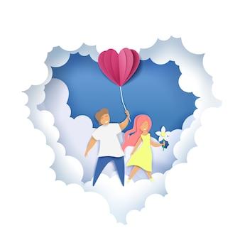 Par romântico, ilustração em estilo de artesanato de arte de papel