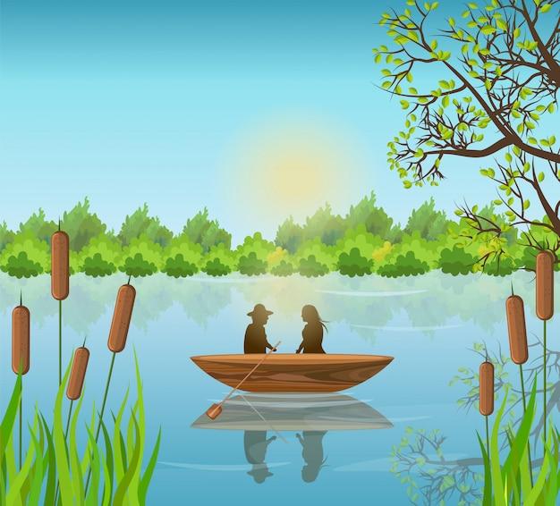 Par romântico, ligado, lago, ilustração