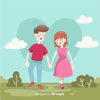 Par, segurando, mãos, valentine, fundo