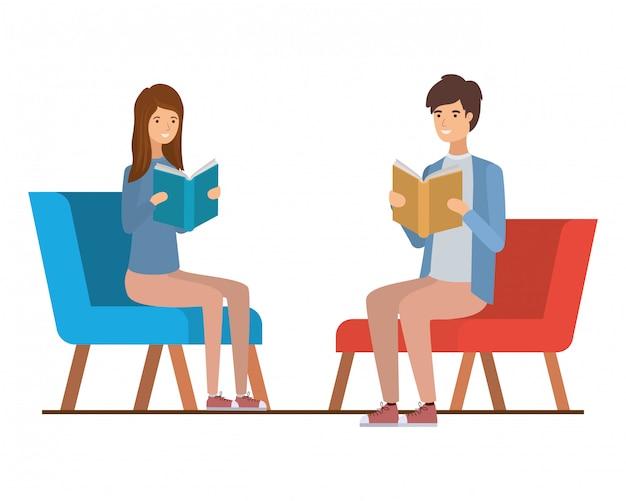 Par, sentando, cadeira, livro, mãos