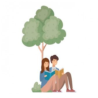 Par, sentando, com, livro, em, paisagem, com, árvores plantas