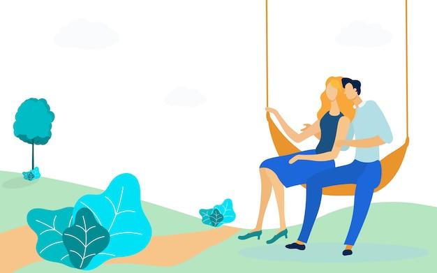 Par, sentando, em, rede, apartamento, vetorial, ilustração