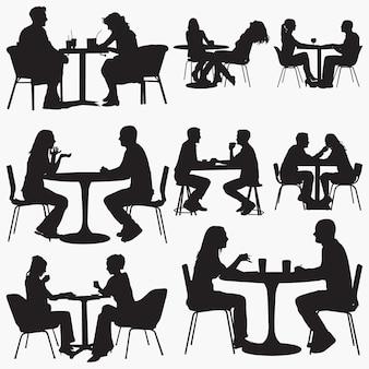 Par, sentando, em, restaurante, silhuetas