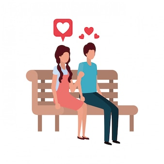 Par, sentando, parque, cadeira, com, corações, personagem