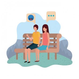 Par, sentando, parque, cadeira, com, fala, bolhas