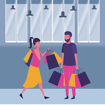 Par, shopping, caricatura