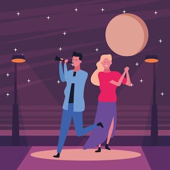 Par, tendo divertimento, e, dançar
