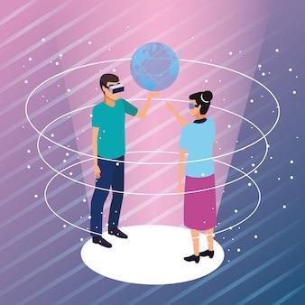 Par, tocando, com, virtual, realidade
