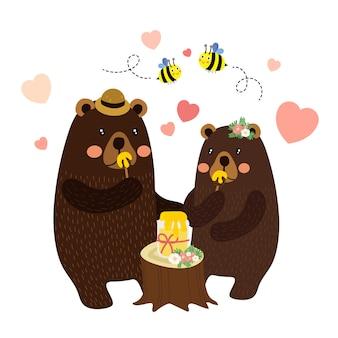 Par, ursos, comer, mel, caricatura, personagem