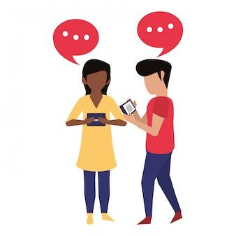Par, usando, smartphone, tecnologia, caricatura