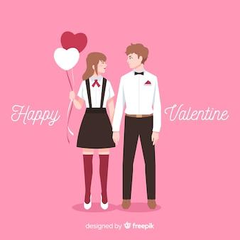 Par valentine, segurando, balões, fundo
