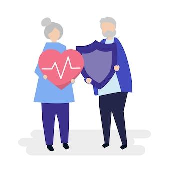 Par velho, segurando, seguro saúde, ícones
