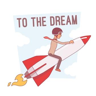Para a motivação dos sonhos, ilustração de arte de linha
