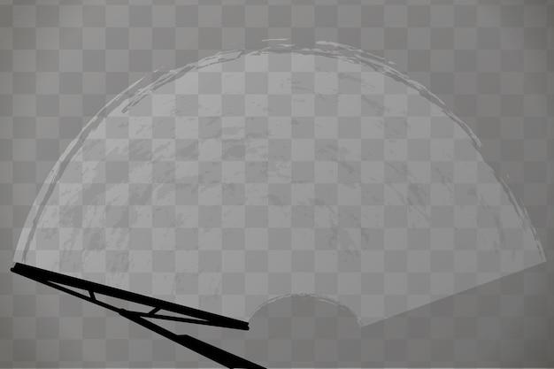 Pára-brisa do carro com limpador de para-brisa em fundo transparente