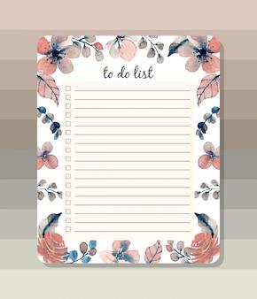 Para fazer a lista com aquarela floral