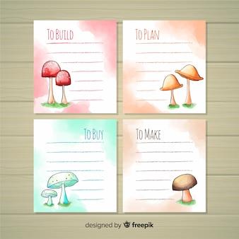 Para fazer a lista de coleção com cogumelos em aquarela