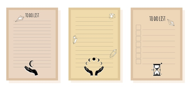 Para fazer a lista e verificar a lista para planejador e caderno, lista de tarefas com itens mágicos para astrologia