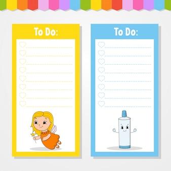 Para fazer a lista para as crianças. modelo vazio. a forma retangular.
