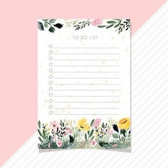 Para fazer notas de lista com fundo aquarela jardim floral.