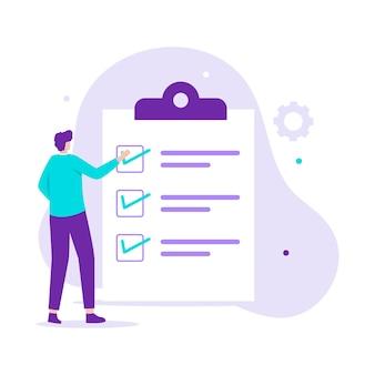 Para fazer o conceito de página de destino de ilustração de lista. ilustração para sites, páginas de destino, aplicativos móveis, pôsteres e banners