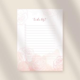 Para fazer papel de lista com flores rosa e aquarela