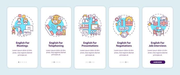 Para fins de inglês comercial, tela da página do aplicativo móvel com conceitos
