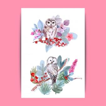 Para o amante da coruja, animais selvagens desenhados à mão conjunto estilo aquarela