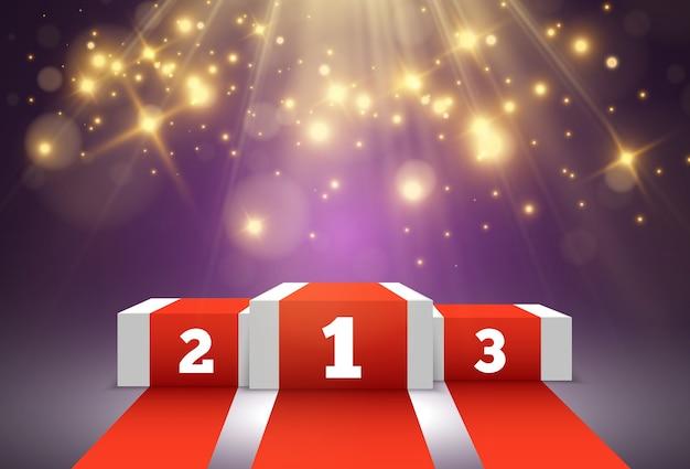 Para os vencedores do prêmio. pedestal ou plataforma para homenagear os vencedores dos prêmios.