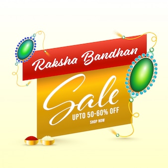 Para raksha bandhan venda cartaz design com pérola brilhante rakhis.
