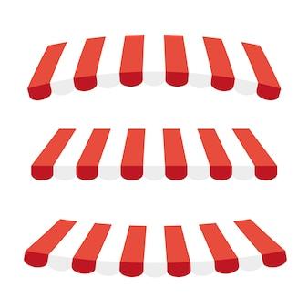 Pára-sol listrado de vermelho e branco para lojas, cafés e restaurantes de rua