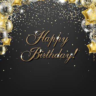 Parabéns aniversário cartão com balões dourados
